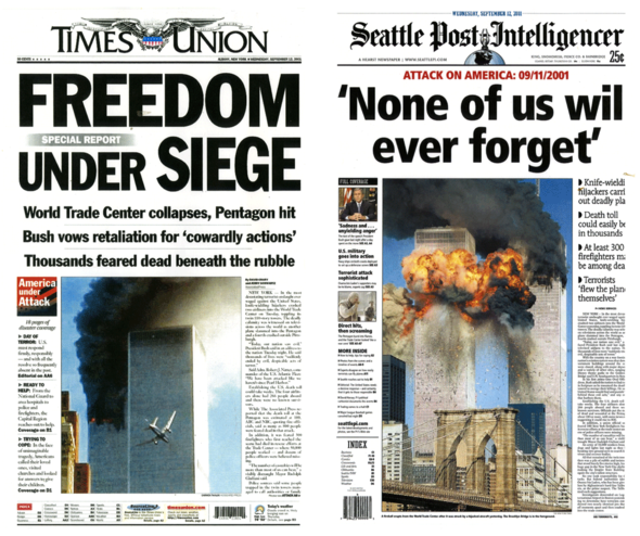 9/11 events as reported in Hearst newspapers. (Albany TIMES-UNION, SEATTLE POST-INTELLEGENCER)