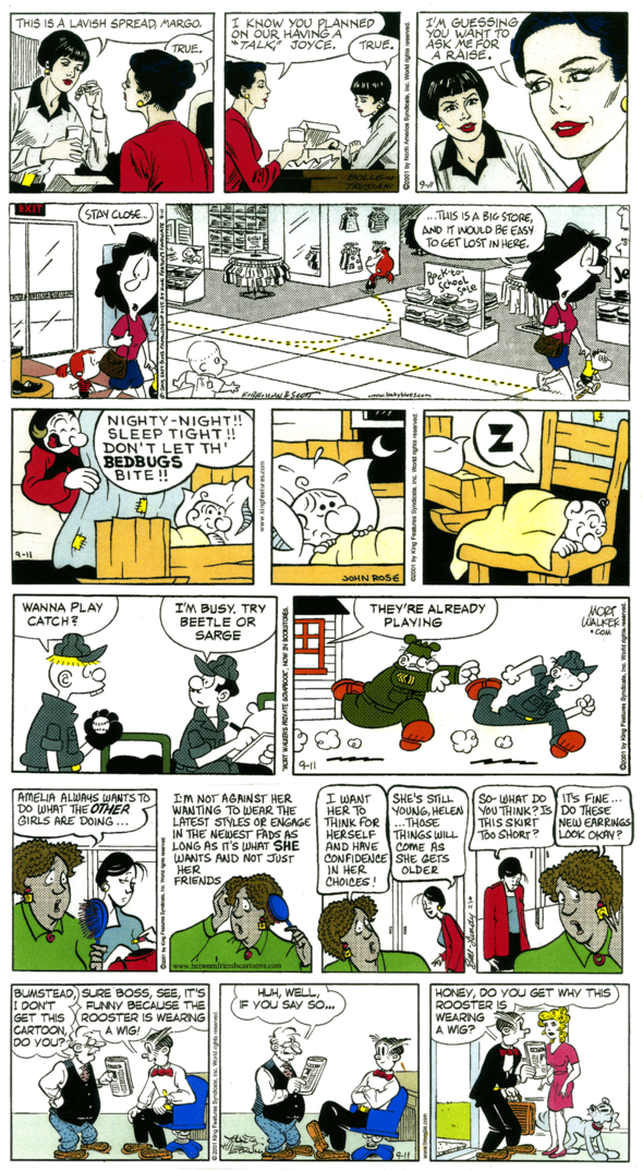APT. 3-G by Bolle & Trusiani, BABY BLUES by Kirkman & Scott, BARNEY GOOGLE AND SNUFFY SMITH by John Rose, BEETLE BAILEY by Mort Walker, BETWEEN FRIENDS by Sandra Bell-Lundy, BLONDIE by Young & Lebrun