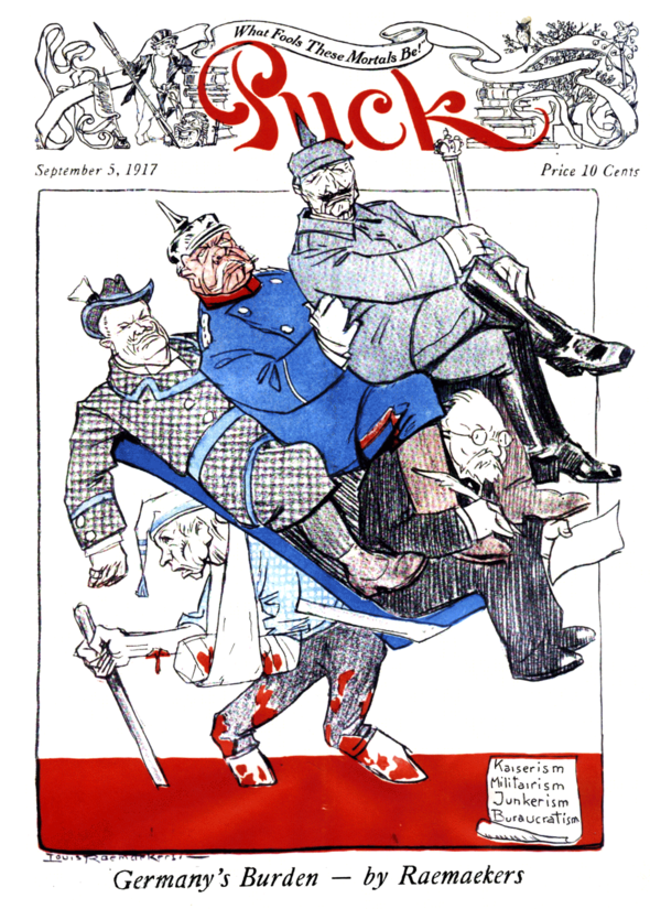 A late issue of Puck after it was acquired by Hearst. Even world-famous editorial cartooning stars like the Dutch Louis Raemaekers couldn't save the fading publication.