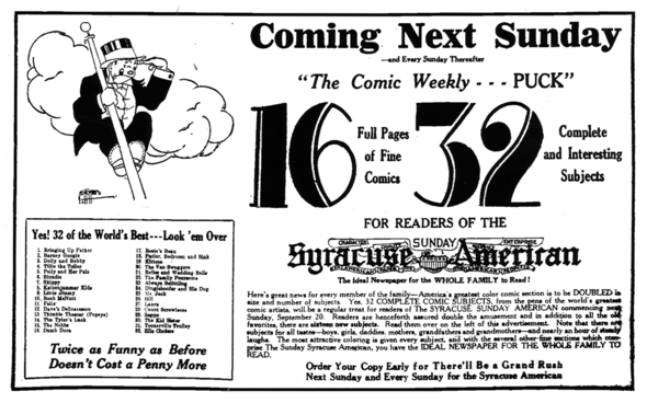 Promotion for the debut of PUCK-THE COMIC WEEKLY (Oswego Palladium-Times 17 September 1931).