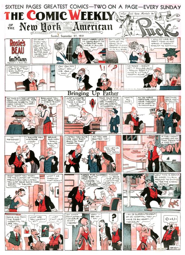 The first PUCK comics section, 27 September 1931.