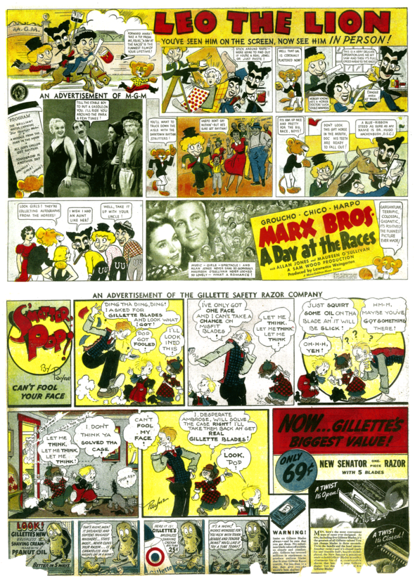 """AD COMICS: Above-Even individual movies could be sold via the Funnies. (27 June 1937)   Below-Sometimes cartoonists would be able use their old, retired comics stars in ads, like we see here, old timer C. M. Payne revives the cast of """"S'Matter Pop?"""" for a Gillette spot. (10 July 1938). Who drew it? Just a guess- Mal Eaton."""