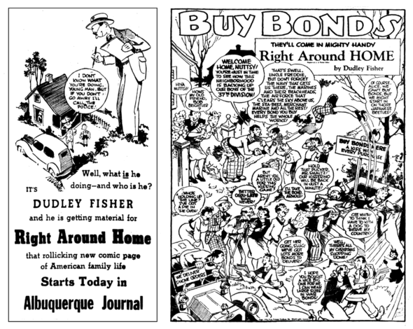 RIGHT AROUND HOME: A 1939 Promo with an unusual self-portrait of cartoonist Dudley Fisher, and a 1944 PSA for War Bonds. Would you get patriotic and buy more if Myrtle asked you?