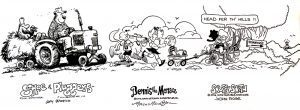 A piece of artwork drawn by three cartoonists to be auctioned off at Saturday's event!