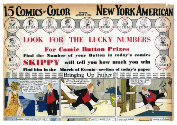 In 1930, several of the Hearst papers tried a lucky number contest with the King Features characters. The comics pages, in both the daily and Sunday paper, would be awash in lucky numbers that might match up with those printed on a button, which would be a prize winner. Here, a detail of the cover of the N.Y. American's comic section of 3 August 1930 shows the first series. Years later, we would do a similar contest with cards. See: