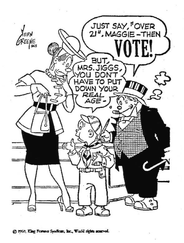 Speaking of PSAs, here's a parting message from Jiggs and Maggie from 1960: