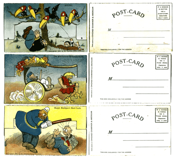 """Three more of the """"Mechanical"""" fold-ups like we looked at before. Top: Der Captain is apparently suffering an attack by red-headed toucan birds and a rocky fusillade by Hans and Fritz at the same time. Middle: Here we see Cap trying to enjoy his Japanese holiday, but the boys will have none of it. These cards are usually hard to date precisely, but the Katzenjammers were visiting Japan in September, 1906, hence, they wear Kimonos. The object in Cap's hand is a sideways view of a fan, not a knife blade. Bottom: Happy Hooligan's much abused skull takes yet another round of cop clubbing in a rather uninspired card."""