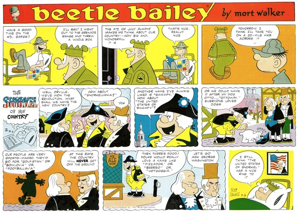 Beetle Bailey Sunday page color proof, July 9, 1967.