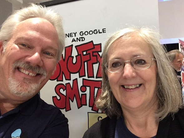 """Here I am getting a """"selfie"""" with Joy Kiracofe Taylor, comic con photographer and member of the planning committee…and a super-nice lady!"""