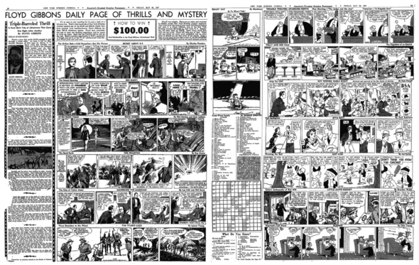 NEW YORK EVENING JOURNAL 28 May 1937 By this time, the evening had become so filled with strips, two pages were seen.