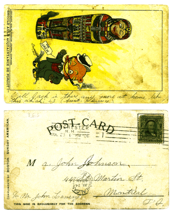 Mr. Jack and friend in 1906 bid the year adieu. (This card was addressed to my great- grandfather.)
