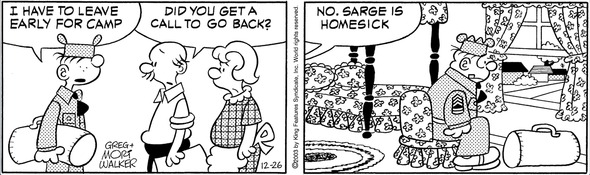 The Beetle Bailey family holidays are almost over for Sarge Snorkel