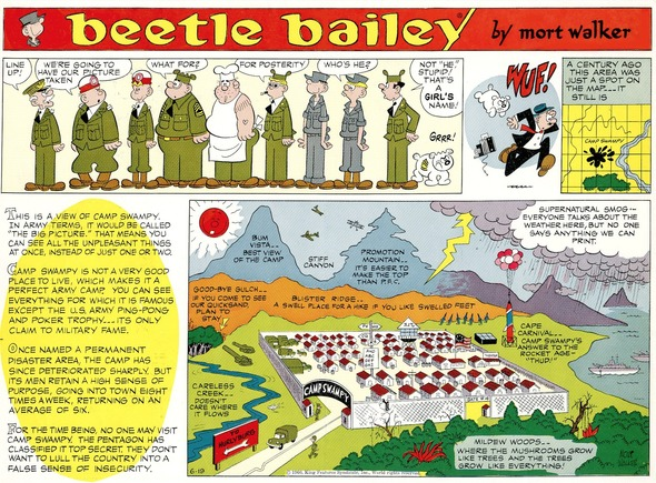 Beetle Bailey Sunday page color proof, June 19, 1960.