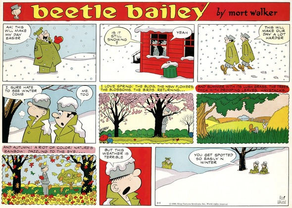 Beetle Bailey Sunday page color proof, January 1, 1961.