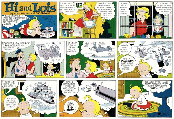 Hi and Lois Sunday page color proof, May 21, 1961.