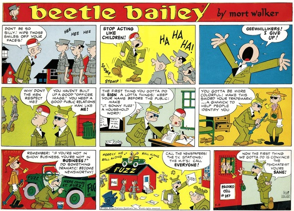 Beetle Bailey Sunday page color proof, April 9, 1961.
