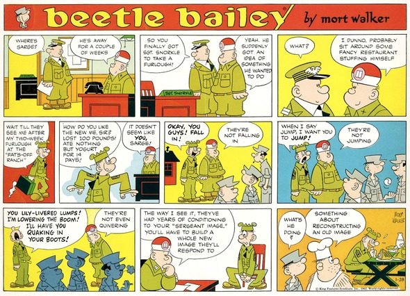 Beetle Bailey Sunday page color proof, January 28, 1962.