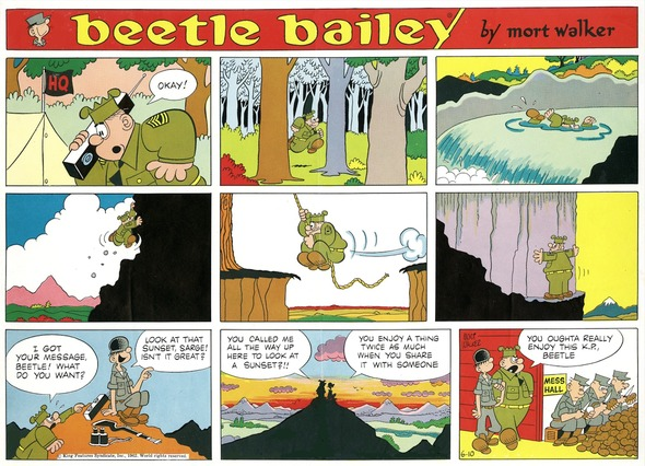 Beetle Bailey Sunday page color proof, June 10, 1962.