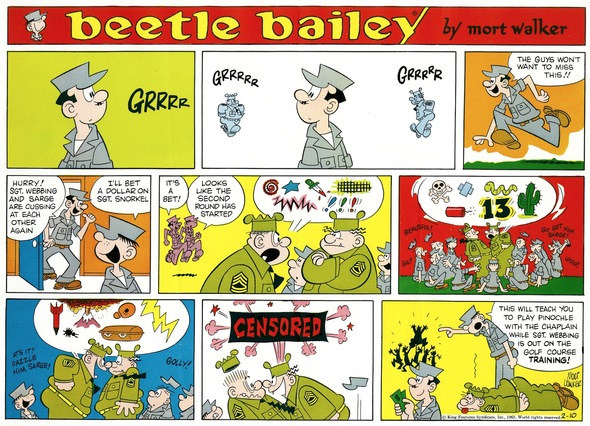 Beetle Bailey Sunday page color proof, February 10, 1963.