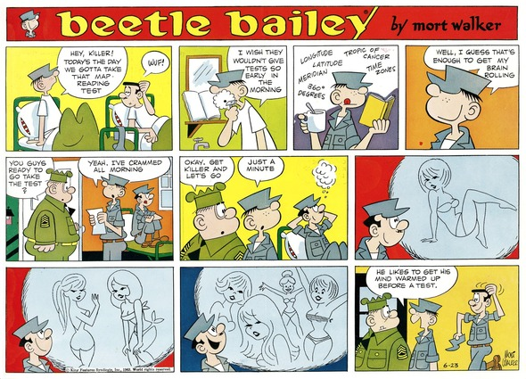 Beetle Bailey Sunday page color proof, June 23, 1963.