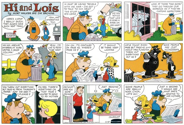 Hi and Lois Sunday page color proof, November 17, 1963.