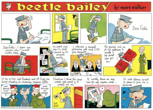 Beetle Bailey Sunday page color proof, August 11, 1963.