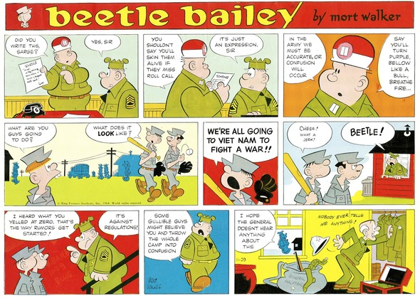 Beetle Bailey Sunday page color proof, November 29, 1964.