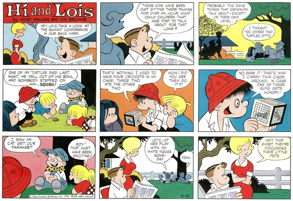 Hi and Lois Sunday page color proof, April 18, 1965.