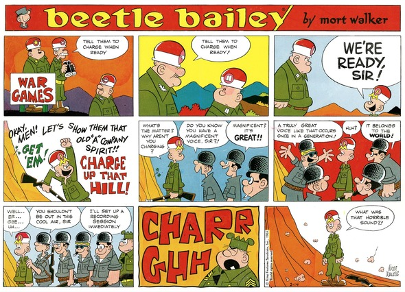 Beetle Bailey Sunday page color proof, February 14, 1965