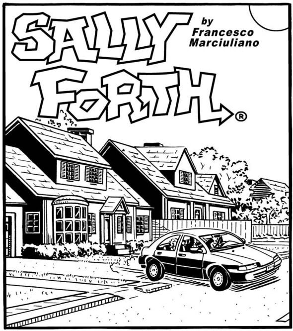 Sally Forth Sunday drop panel