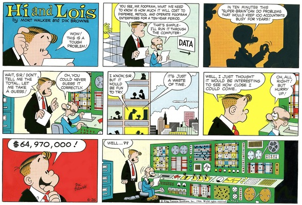 Hi and Lois Sunday page color proof, June 26, 1966.
