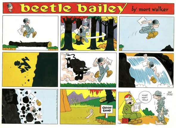 Beetle Bailey Sunday page color proof, July 21, 1966.