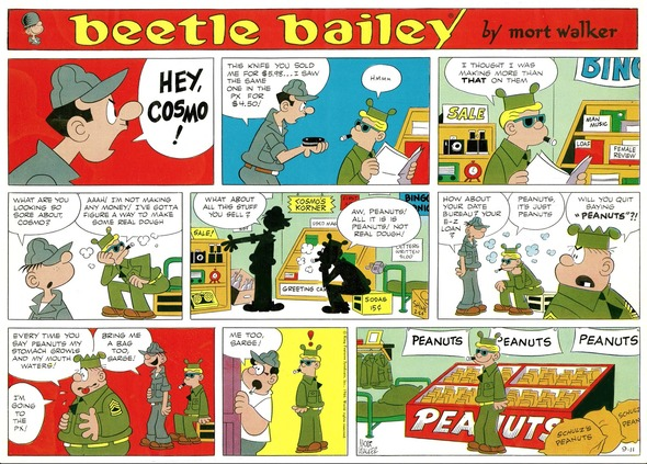 Beetle Bailey Sunday page color proof, September 11, 1966.