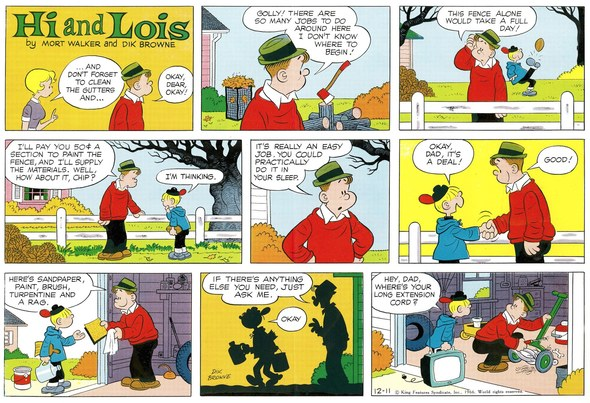 Hi and Lois Sunday page color proof, December 11, 1966.