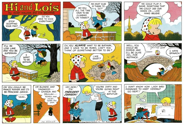 Hi and Lois Sunday page color proof, February 12, 1967.