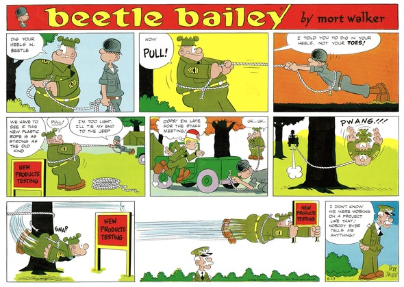Beetle Bailey Sunday page color proof, September 17, 1967.