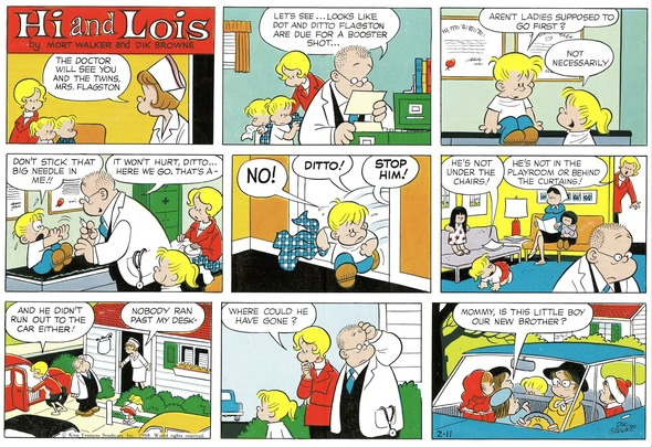 Hi and Lois Sunday page color proof, February 11, 1968.