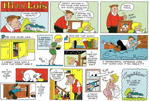 Hi and Lois Sunday page color proof, June 9, 1968