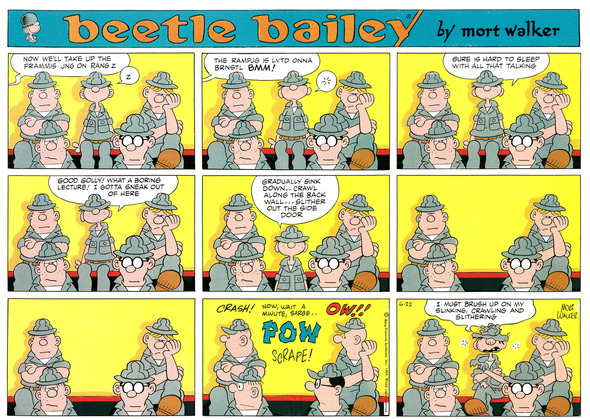 Beetle Bailey Sunday page color proof, June 22, 1969