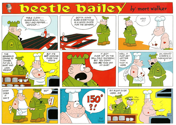 Beetle Bailey Sunday page color proof, August 17, 1969.