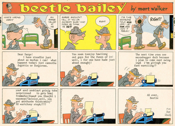 Beetle Bailey Sunday page color proof, May 24, 1970.