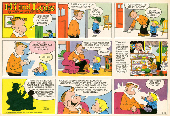 Hi and Lois Sunday page color proof, March 15, 1970.