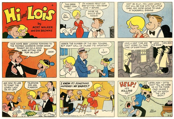 Hi and Lois Sunday page color proof, March 7, 1971.