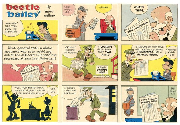 Beetle Bailey Sunday page color proof, February 7, 1971.