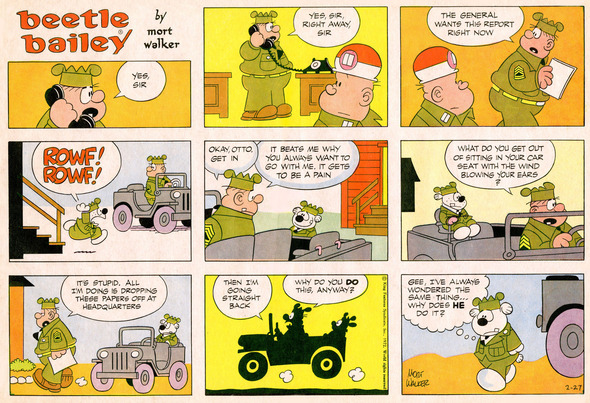 Beetle Bailey Sunday page color proof, February 27, 1972.